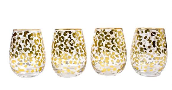 Leopard Stemless Wine Glasses