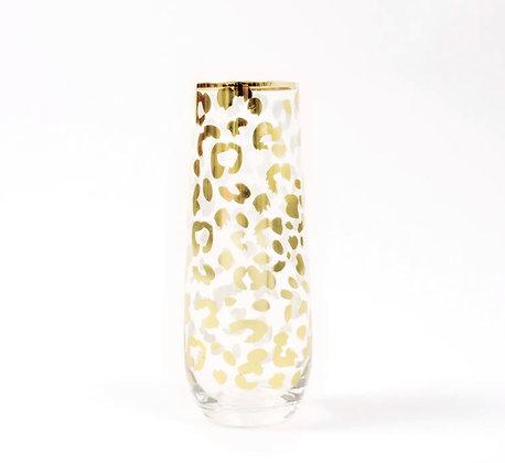Stemless Leopard  Champagne Flutes