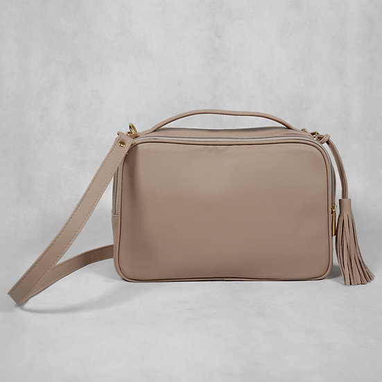 Double Zip Box Bag (Pebbled Leather)