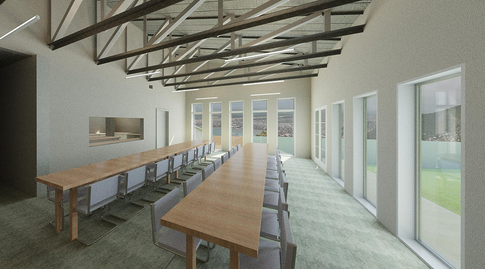 Rendering of the community centre dining hall at the Freedom Village rescue home