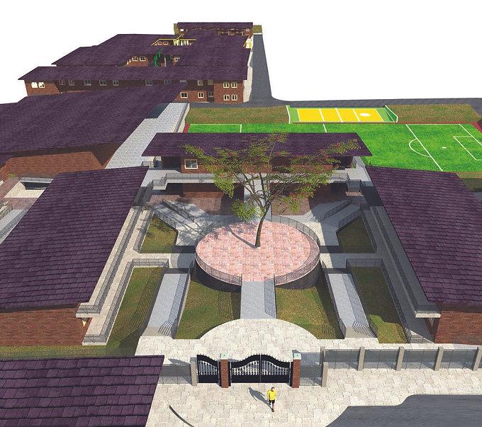 Rendering of the Bright Future Secondary School master plan in Rwanda