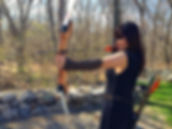 asian woman with bow and arrow