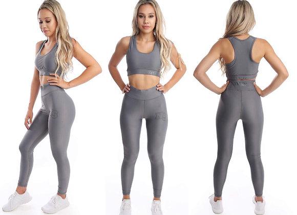 NXTSET Solid Full Length Tights - Grey