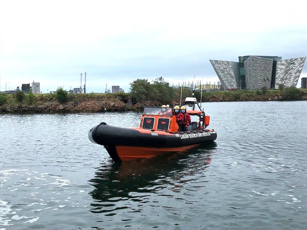 Belfast Lifeboat launcing on Training