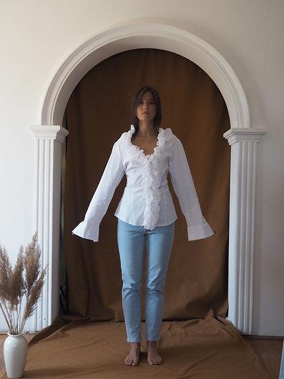 White cotton shirt with ruffles - XL
