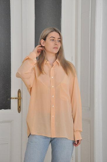 Pure silk peach shirt - L or oversized