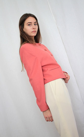 Wool and cashmere blend blazer in coral - M