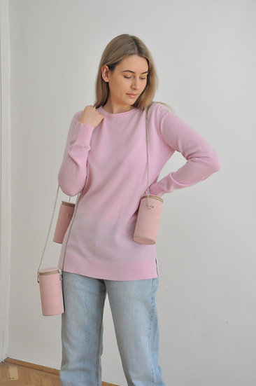 Virgin wool - cashmere pullover in rose / M