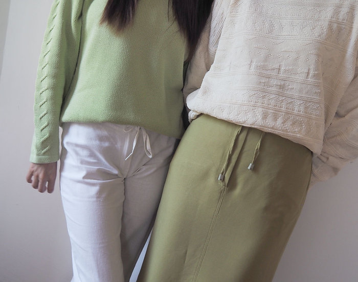 Linen blend skirt in green with tie - S/M