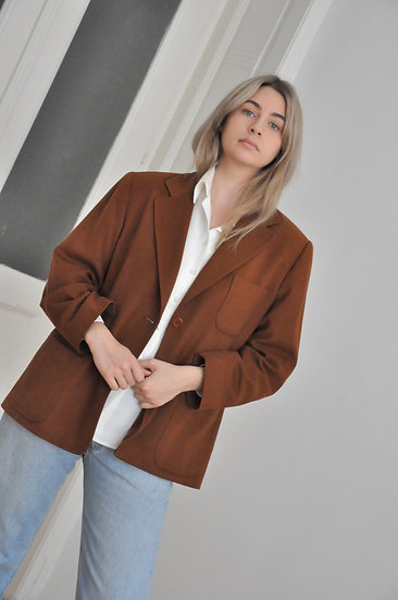 Wool - Angora blazer / oversized or fitted L