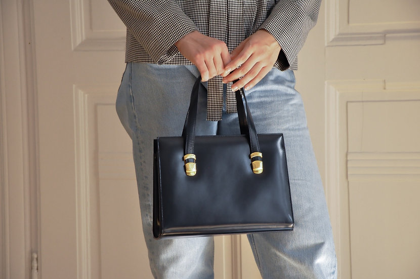 High quality leather handbag in navy blue