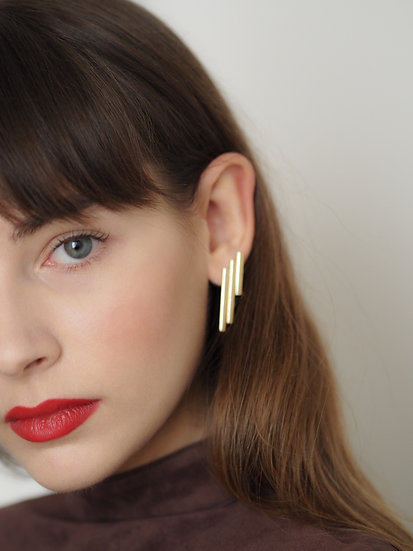 Syrinx Earrings / gold or silver plated
