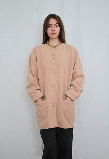 Cream wool coat - M/L