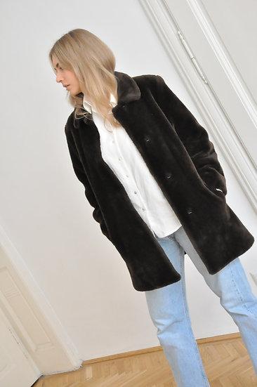 Faux fur coat, dark brown / S-M