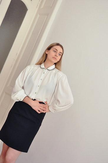 Romantic white shirt with unique collar // xs-m