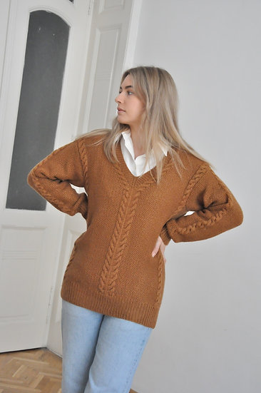 Wool pullover in rusty brown / oversized or M-L