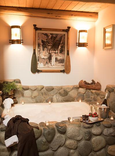 River rock spa tub