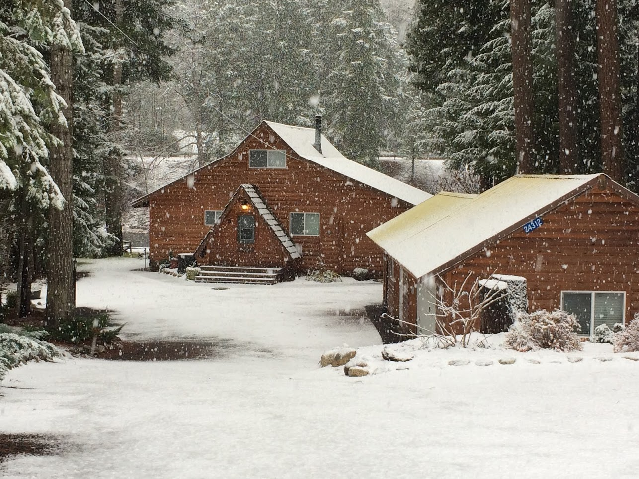 Snow at cabin