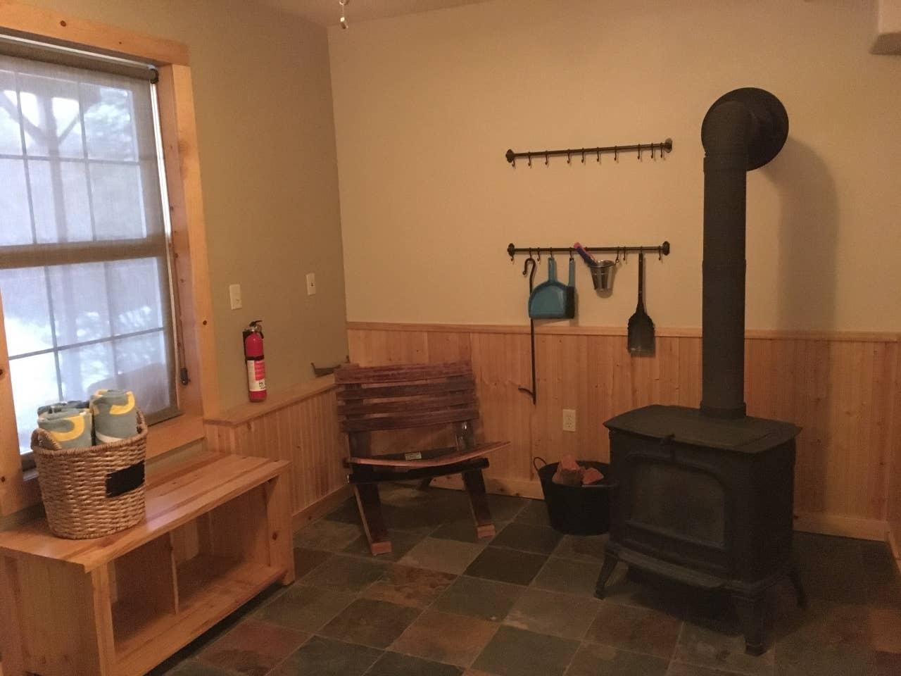 Wood stove, lower level