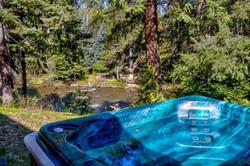 Hot tub river views