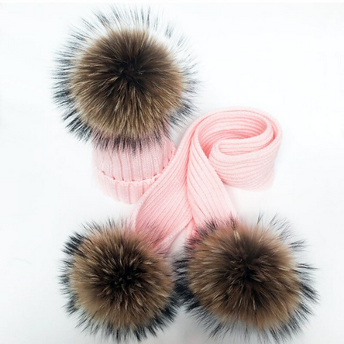 """Real Fur Hat & Scarf Set. The Carina Collection, in """"Amore"""""""