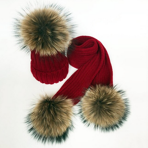 "Real Fur Hat & Scarf Set. The Carina Collection, in ""Vino"""