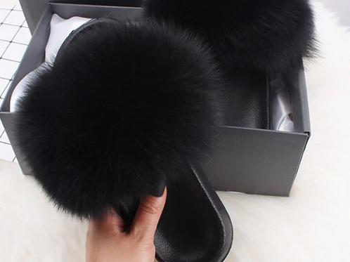 """Genuine Fur Slides. The Prestigio Collection, in """"Notte"""""""
