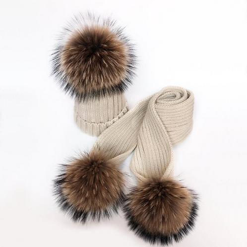 "Real Fur Hat & Scarf Set. The Carina Collection, in ""Crema"""