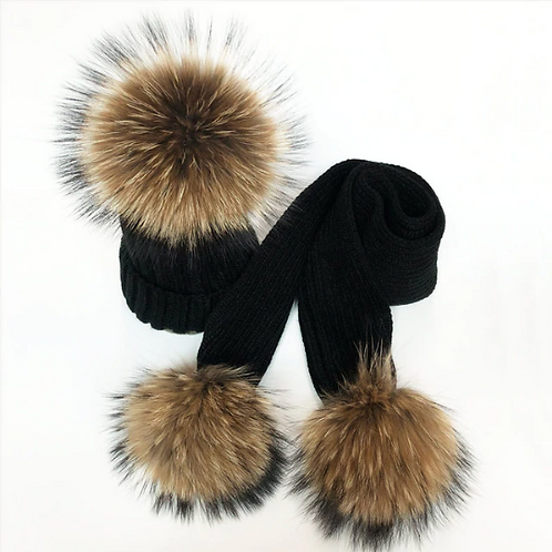 "Real Fur Hat & Scarf Set. The Carina Collection, in ""Notte"""