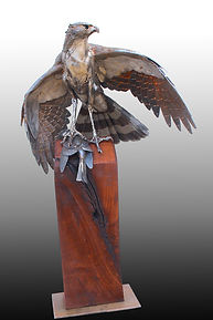 steel sculpture Coopers Hawk