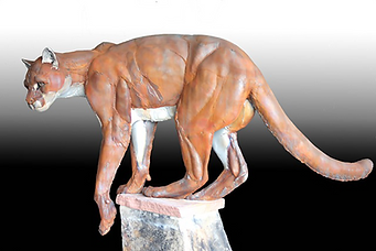 steel sculpture Mountain Lion