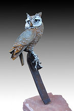 welded steel and stainless steel screech owl