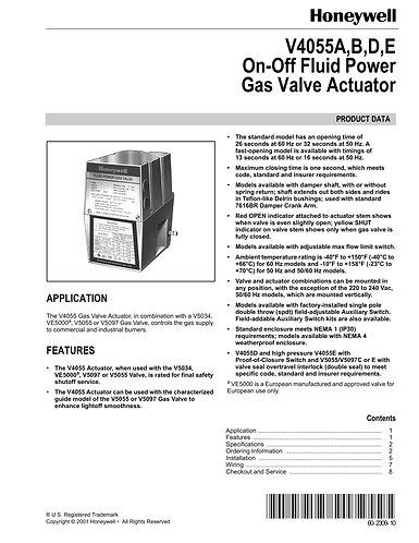 Honeywell Gas Valve Actuator V4055E1040