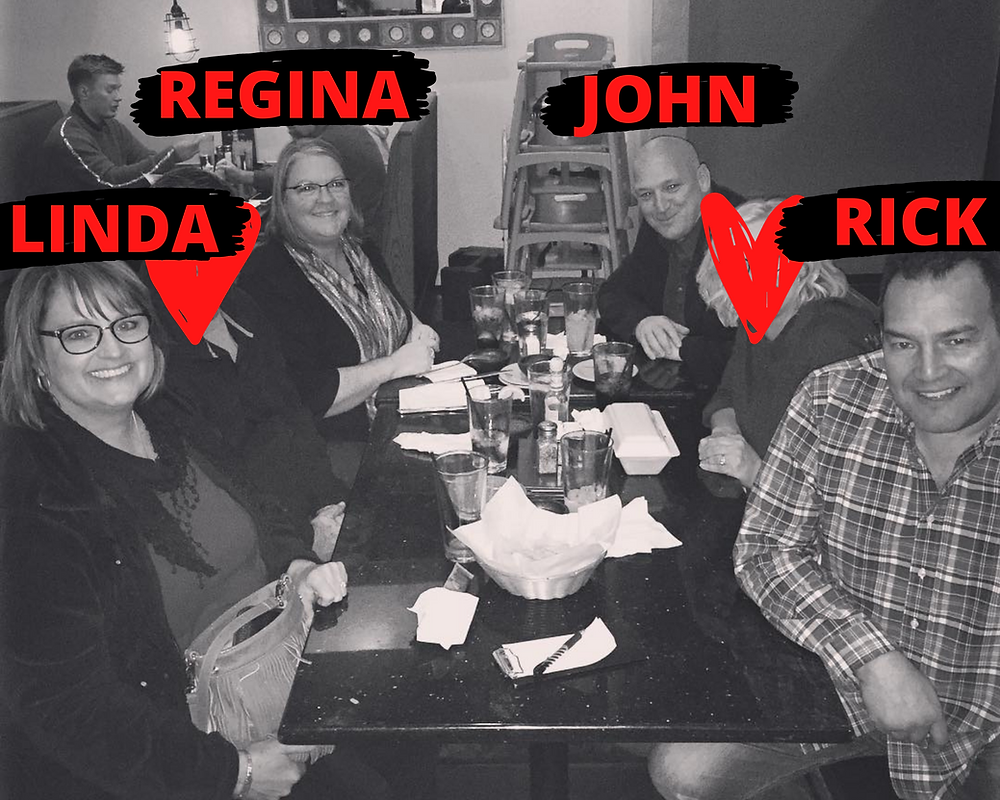 3 couples out at a restaurant, black and white, 2 people censored for privacy. Uncensored persons labeled, left to right: Linda, Regina, John, Rick.