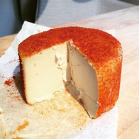 Experiments with cheese..._This is a fermented cashew base that was smoked then aged for 2 weeks. Smoked paprika rind..._._._.jpg