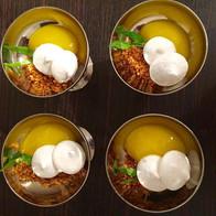 Mango lemon gel, coconut maple ginger-spiced panko, crunchy aquafaba meringue, and a little tarragon to take it to the next level!_#dessert_