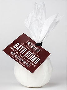 Get Salted bath bombs are proudly made here in the USA using the finest quality food grade ingredients. Our bath bombs are handmade,  vegan and gluten-free. Our ingredients are All Natural & made with pure Himalayan salt crystals, 100% pure essential oils for fragrance, Non-GMO cornstarch for a silky feel, sunflower oil, organic shea butter & cocoa butter to keep your skin soft & moisturized. They are not colored so they will not stain your tub or skin. With  6 unique aromatherapy blends - SOOTHE, BREATHE, RELAX, UNWIND, REVIVE  & DETOX. Which will you choose? Treat yourself and your senses tonight.   Use:  Therapeutic bathing and aromatherapy  Features & Benefits Clear sinuses and experience respiratory relief Soothes tired muscles and joints and helps relieve pain and soreness Re-mineralize the body via dermal absorption Moisturizes skin with organic shea and cocoa butter  Recommended for: Chronic muscle and joint pain Sinus and congestion relief Relaxation and well being