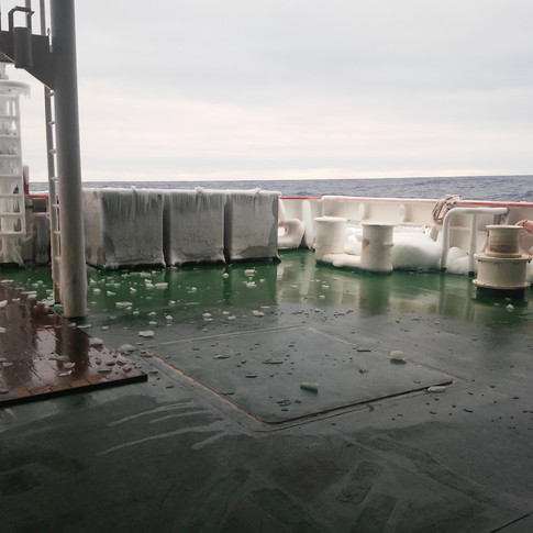 Ice thrown on board during a storm