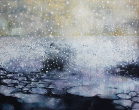 Last Hours of Ancient Sunlight Melted Antarctic sea ice, acrylic and oil 1524 x 1219 cm Sold