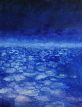 Sea Change 121 x 91cm Melted Antarctic sea ice, acrylic, silver leaf and oil Sold