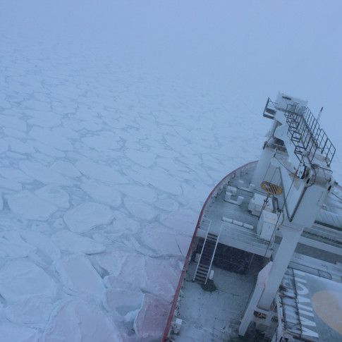 The Cape Agulhas II doing some light ice breaking