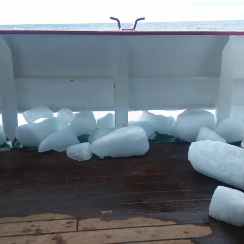 Ice still melting on board after a storm
