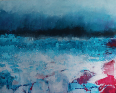 We Came At A Time Melted Antarctic sea ice, acrylic and oil 1524 x 1219 cm