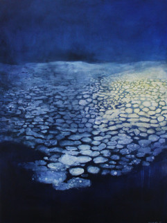 Ship Light in The Night Melted Antarctic sea ice, acrylic and oil 121 x 91 cm Sold