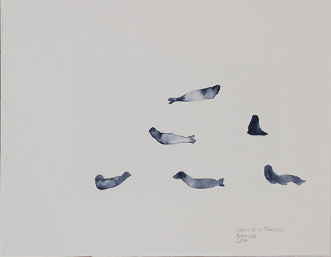 Phantom Seals Melted Antarctic sea ice and watercolour on paper 18 x 13 cm Sold