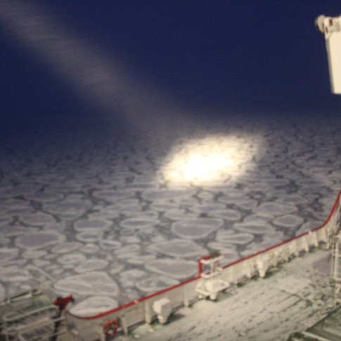 A searchlight looks for icebergs
