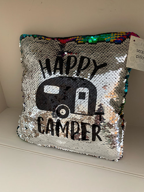 Happy Camper Sequin Flip Pillow