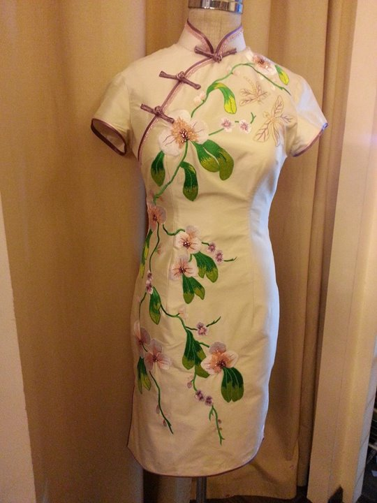Embroidered Cream Indian Silk Cheongsam ;)