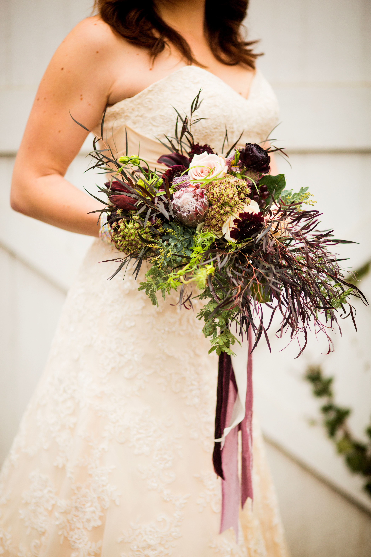burgundy bridal close up
