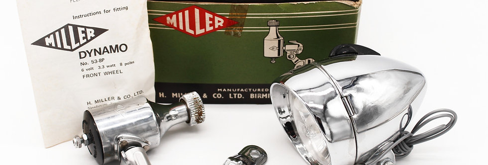 MILLER SET GROEN LAMP + DYNAMO + DOOS